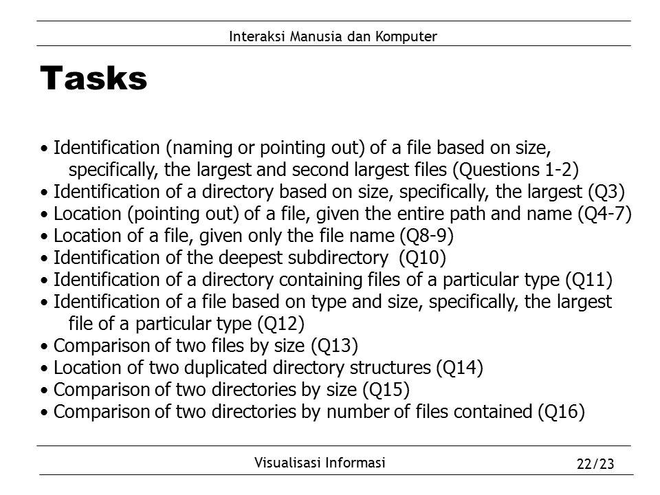 Interaksi Manusia dan Komputer Visualisasi Informasi 22/23 Tasks Identification (naming or pointing out) of a file based on size, specifically, the la
