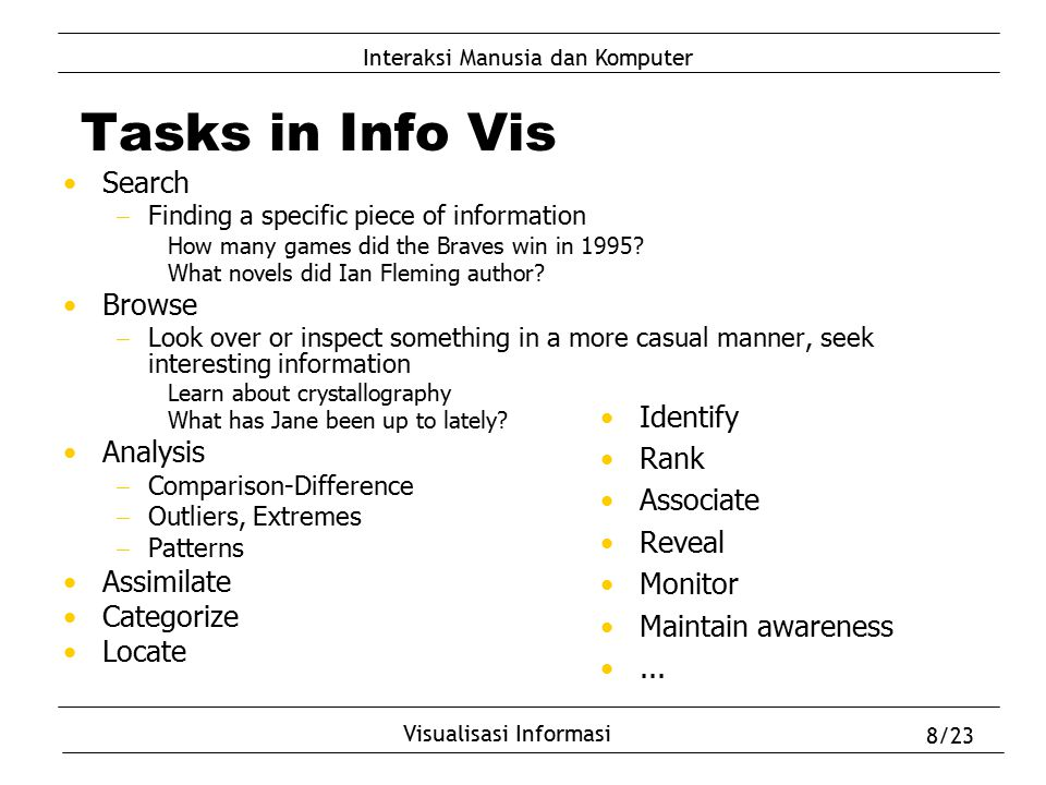 Interaksi Manusia dan Komputer Visualisasi Informasi 8/23 Tasks in Info Vis Search  Finding a specific piece of information How many games did the Br