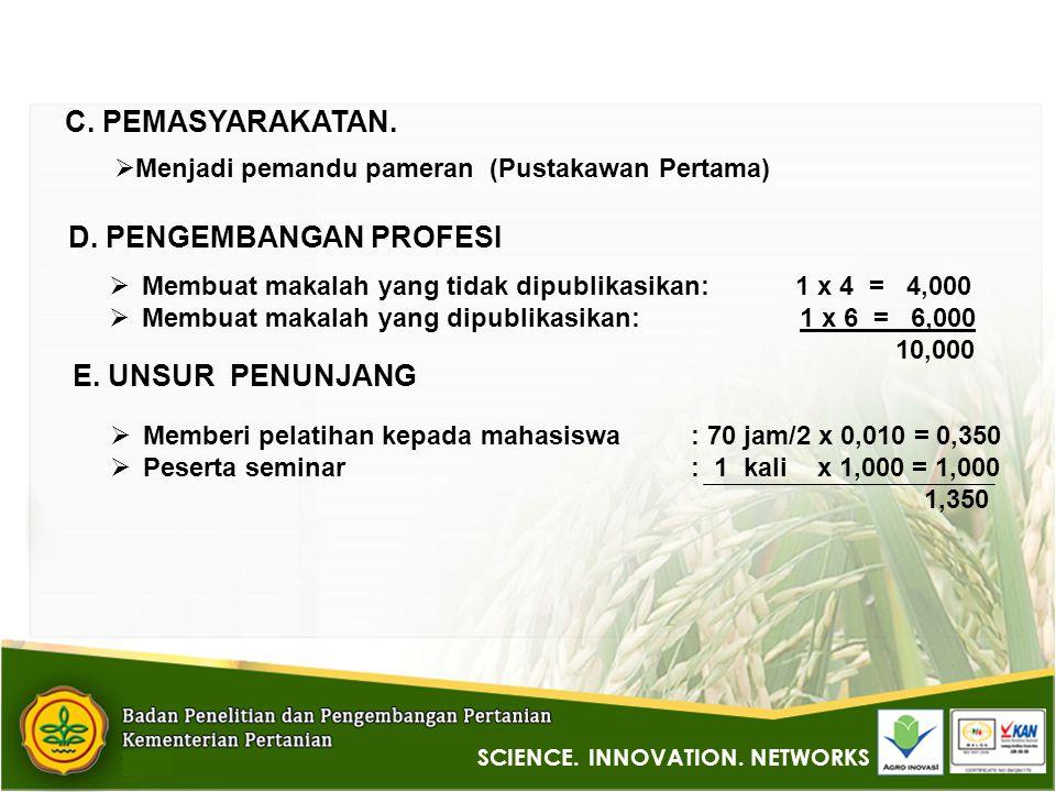 SCIENCE. INNOVATION. NETWORKS C. PEMASYARAKATAN.