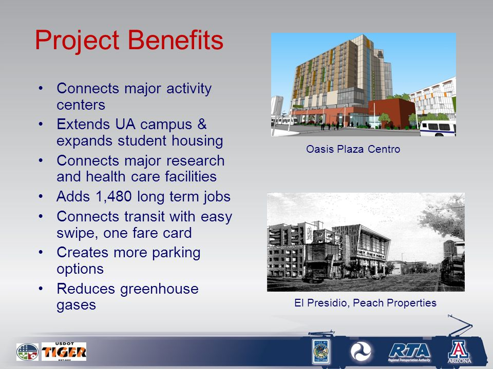 Project Benefits Connects major activity centers Extends UA campus & expands student housing Connects major research and health care facilities Adds 1,480 long term jobs Connects transit with easy swipe, one fare card Creates more parking options Reduces greenhouse gases Oasis Plaza Centro El Presidio, Peach Properties