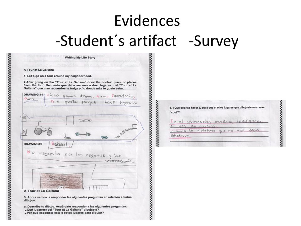 Evidences -Student´s artifact -Survey
