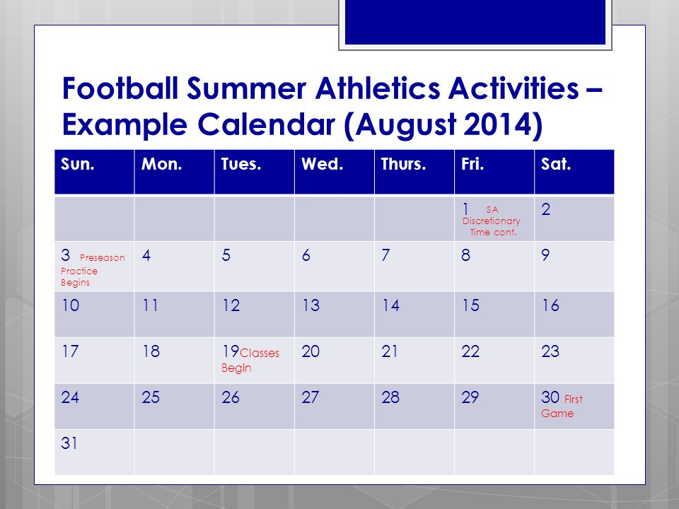 Football Summer Athletics Activities – Example Calendar (August 2014) Sun.Mon.Tues.Wed.Thurs.Fri.Sat.