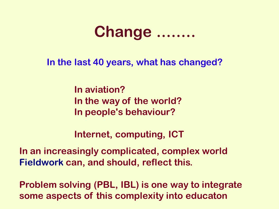 Change........ In the last 40 years, what has changed.