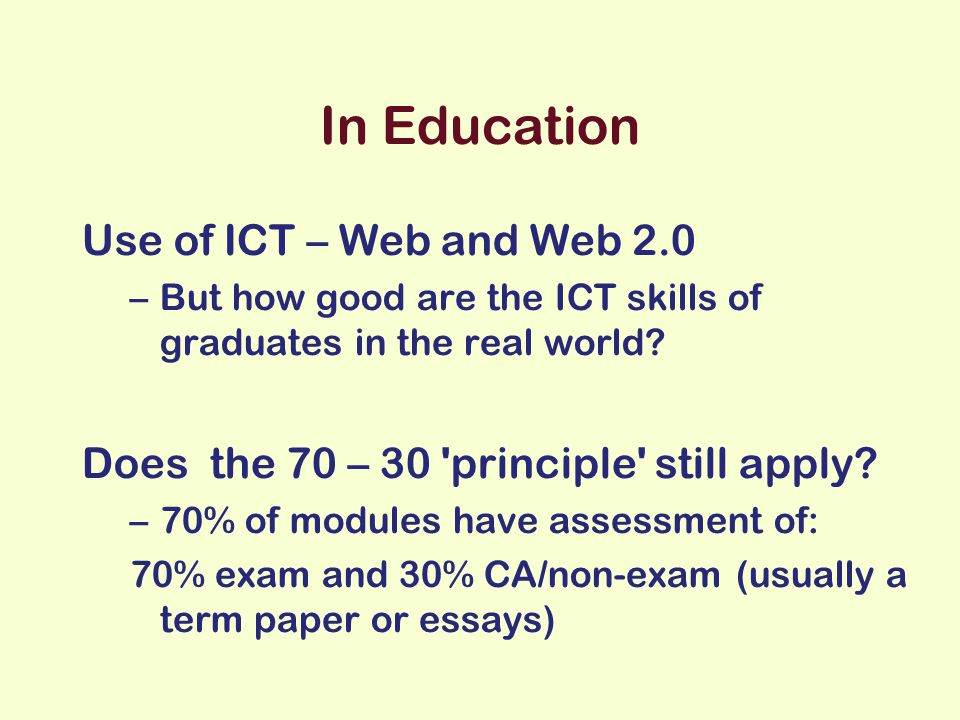 Learning (after Beetham 2002) acquiring skills constructing knowledge and understanding developing values participating Student-centred Constructivism Activity based Experiential Communities of practice Using digital tools Using digital resources Using digital etiquette Using digital communications media
