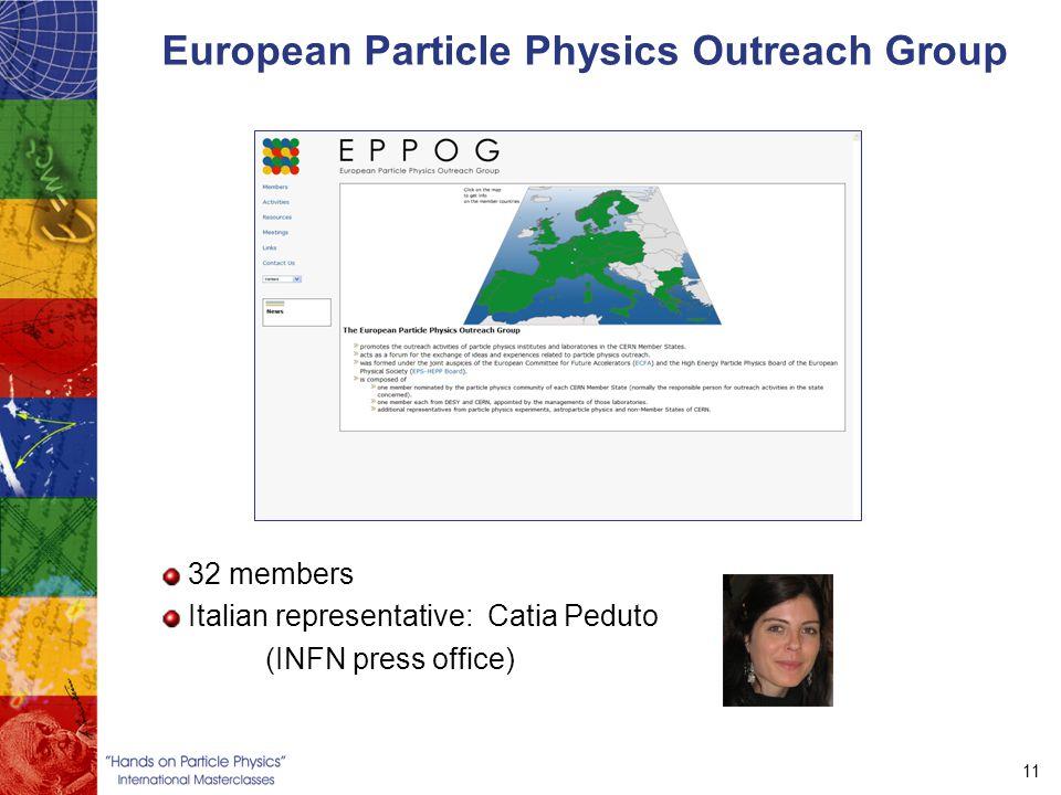 11 European Particle Physics Outreach Group 32 members Italian representative: Catia Peduto (INFN press office)