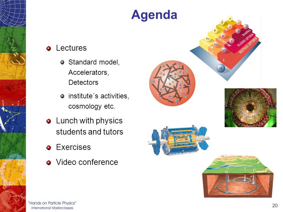 20 Agenda Lectures Standard model, Accelerators, Detectors institute´s activities, cosmology etc.
