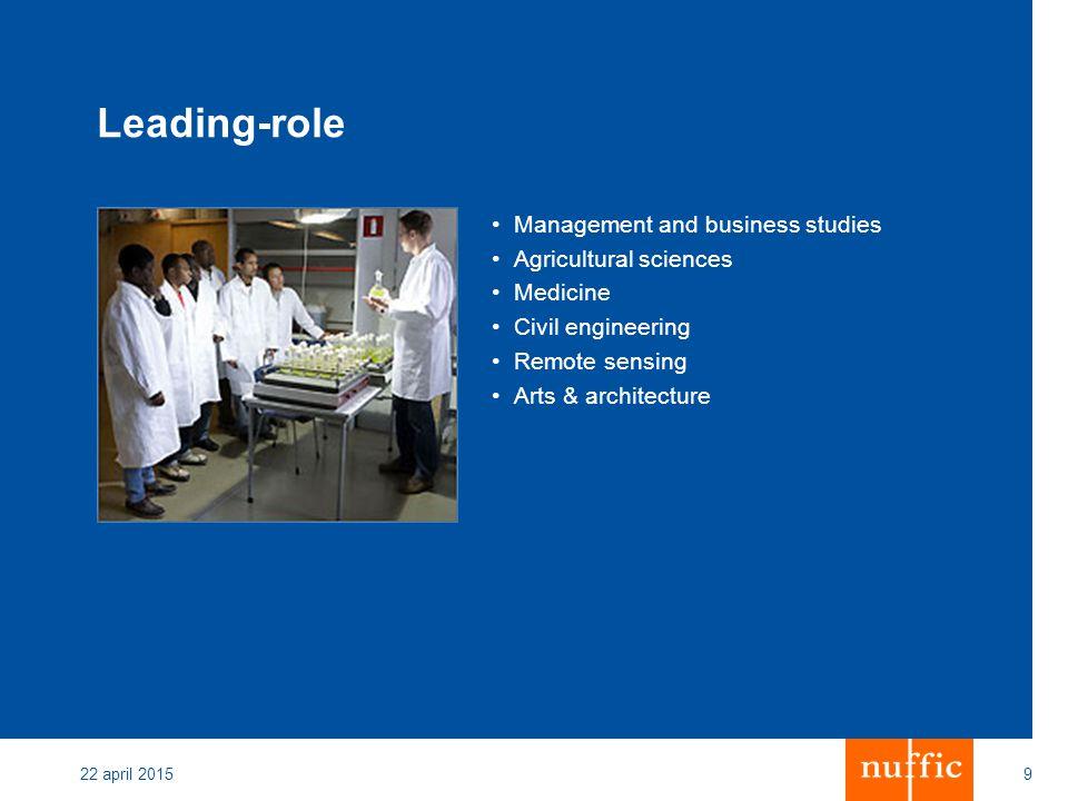 22 april 20159 Leading-role Management and business studies Agricultural sciences Medicine Civil engineering Remote sensing Arts & architecture