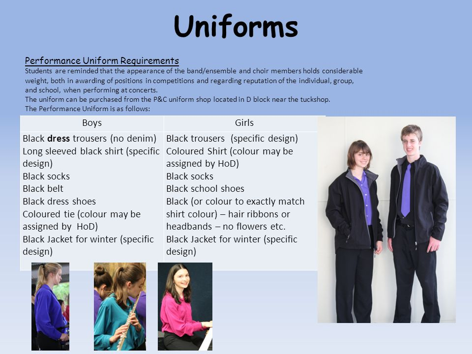 BoysGirls Black dress trousers (no denim) Long sleeved black shirt (specific design) Black socks Black belt Black dress shoes Coloured tie (colour may