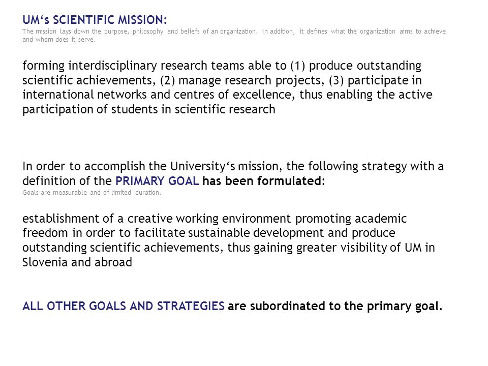 VISION MISSION PRIMARY GOAL
