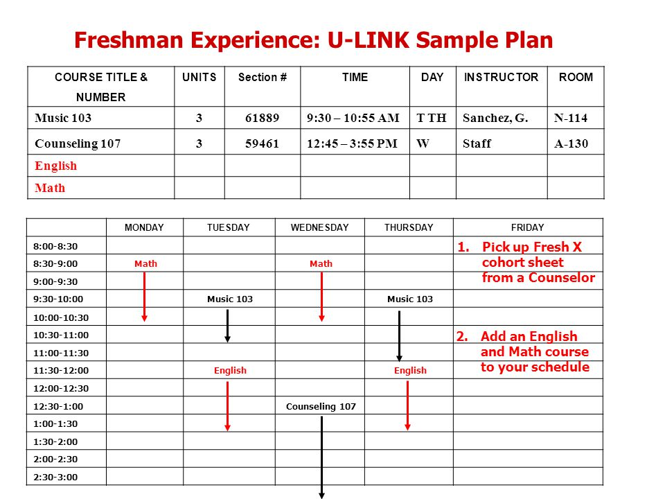 Freshman Experience: U-LINK Sample Plan COURSE TITLE &UNITSSection #TIMEDAYINSTRUCTORROOM NUMBER Music 1033618899:30 – 10:55 AMT THSanchez, G.N-114 Counseling 10735946112:45 – 3:55 PMWStaffA-130 English Math MONDAYTUESDAYWEDNESDAYTHURSDAYFRIDAY 8:00-8:30 8:30-9:00 Math 9:00-9:30 9:30-10:00 Music 103 10:00-10:30 10:30-11:00 11:00-11:30 11:30-12:00 English 12:00-12:30 12:30-1:00 Counseling 107 1:00-1:30 1:30-2:00 2:00-2:30 2:30-3:00 1.Pick up Fresh X cohort sheet from a Counselor 2.