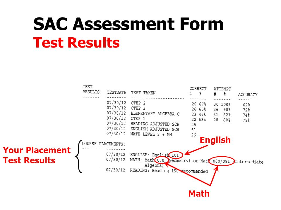 SAC Assessment Form Test Results Your Placement Test Results English Math