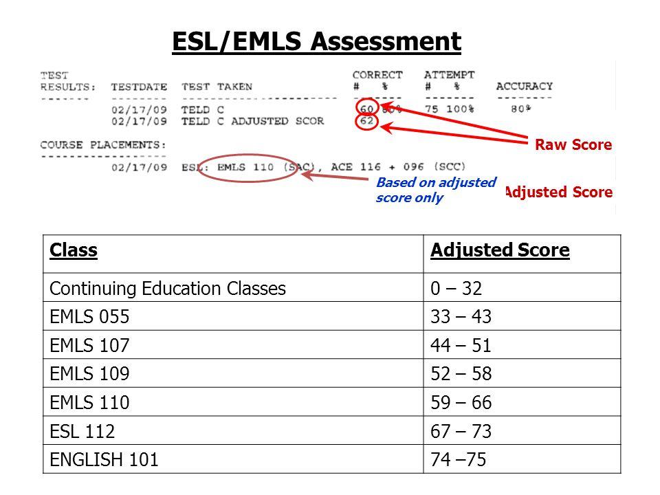 ESL/EMLS Assessment Adjusted Score Based on adjusted score only Raw Score ClassAdjusted Score Continuing Education Classes0 – 32 EMLS 05533 – 43 EMLS 10744 – 51 EMLS 10952 – 58 EMLS 11059 – 66 ESL 11267 – 73 ENGLISH 10174 –75
