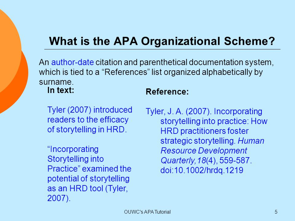"""What is the APA Organizational Scheme? An author-date citation and parenthetical documentation system, which is tied to a """"References"""" list organized"""