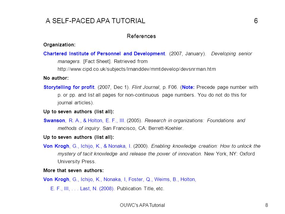 Actual Reference Page APA POWERPOINT: A SELF-PACED TUTORIAL 7 References Chartered Institute of Personnel and Development.