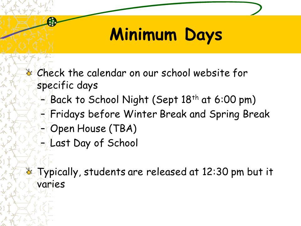 Bell Schedule 7:30amMorning Supervision begins 7:45amLine-up (1st Bell) 7:50amSCHOOL BEGINS (2nd Bell) 9:00amKindergarten Recess (15 Minutes) 11:00amKindergarten Lunch (45 Minutes) 12:35pmDISMISSAL (Monday) 2:15pmDISMISSAL (Tuesday -Friday) 2:15pmLEARNS, Parks & Rec (until 6:00 pm)