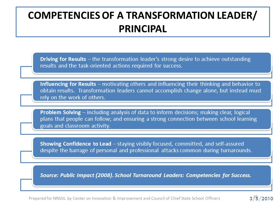 COMPETENCIES OF A TRANSFORMATION LEADER/ PRINCIPAL Driving for Results – the transformation leader's strong desire to achieve outstanding results and