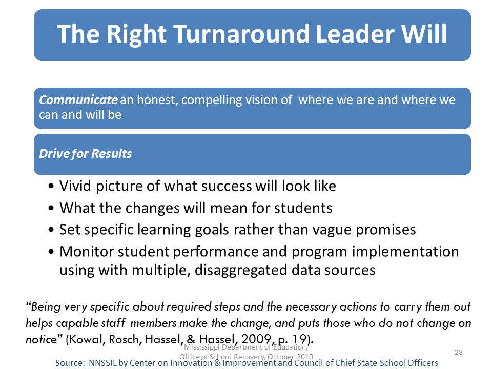The Right Turnaround Leader Will Communicate an honest, compelling vision of where we are and where we can and will be Drive for Results Vivid picture