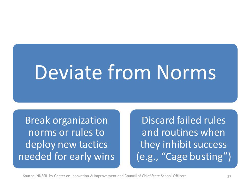 Deviate from Norms Break organization norms or rules to deploy new tactics needed for early wins Discard failed rules and routines when they inhibit success (e.g., Cage busting ) 37 Source: NNSSIL by Center on Innovation & Improvement and Council of Chief State School Officers
