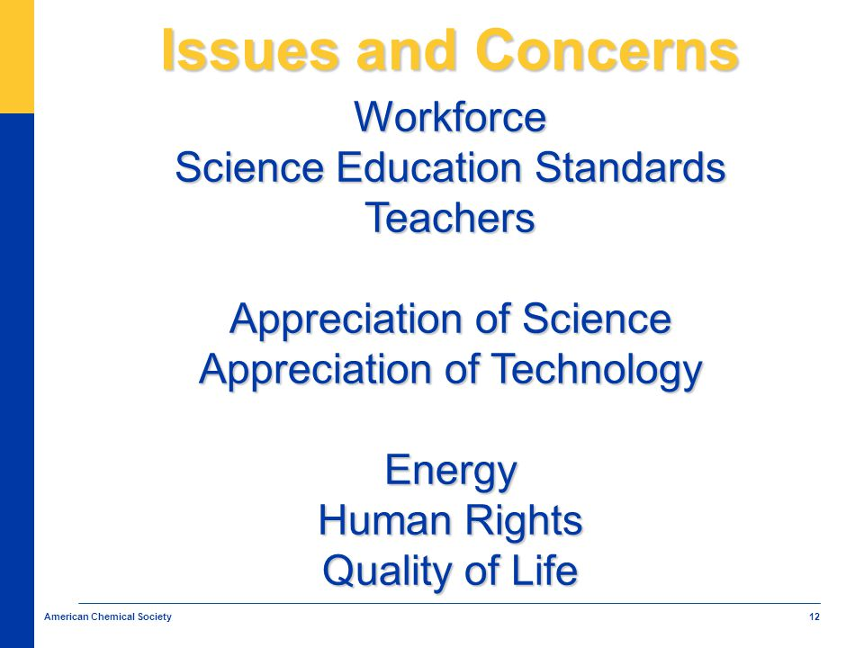 12 American Chemical Society Issues and Concerns Workforce Science Education Standards Teachers Appreciation of Science Appreciation of Technology Energy Human Rights Quality of Life