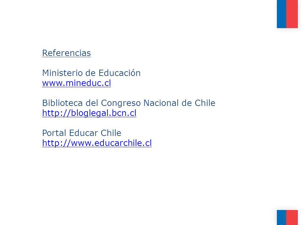 Referencias Ministerio de Educación www.mineduc.cl Biblioteca del Congreso Nacional de Chile http://bloglegal.bcn.cl Portal Educar Chile http://www.educarchile.cl