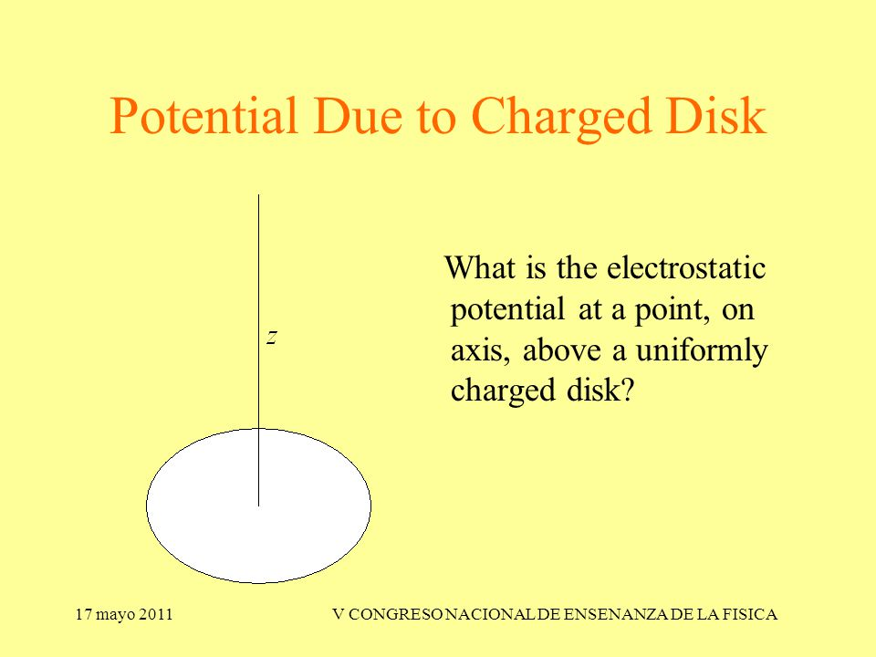 17 mayo 2011V CONGRESO NACIONAL DE ENSENANZA DE LA FISICA Potential Due to Charged Disk What is the electrostatic potential at a point, on axis, above a uniformly charged disk