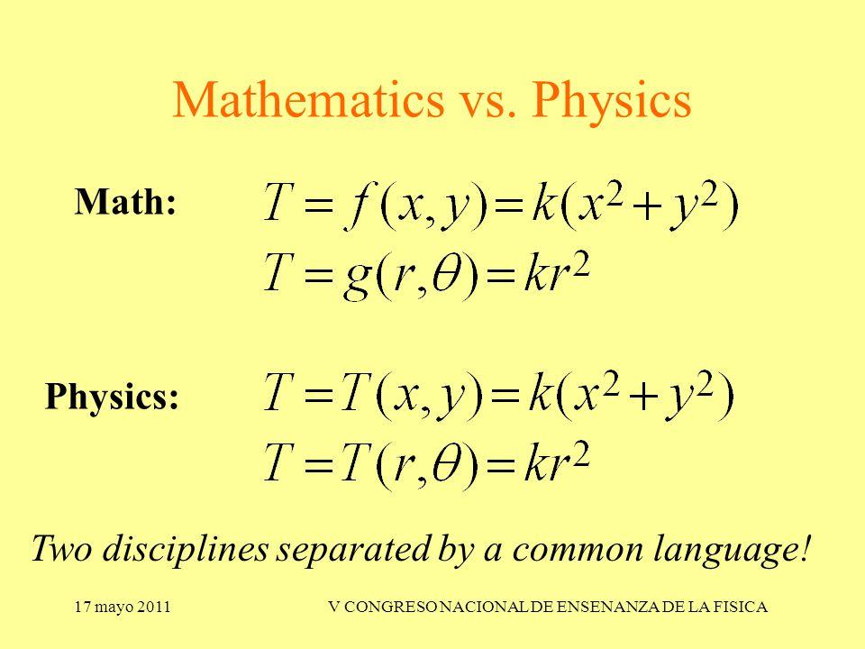 17 mayo 2011V CONGRESO NACIONAL DE ENSENANZA DE LA FISICA Mathematics vs.
