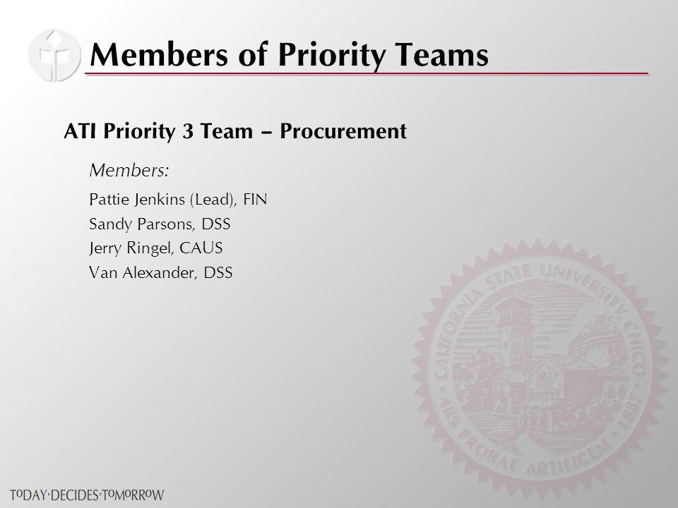 Members of Priority Teams ATI Priority 3 Team – Procurement Members: Pattie Jenkins (Lead), FIN Sandy Parsons, DSS Jerry Ringel, CAUS Van Alexander, DSS
