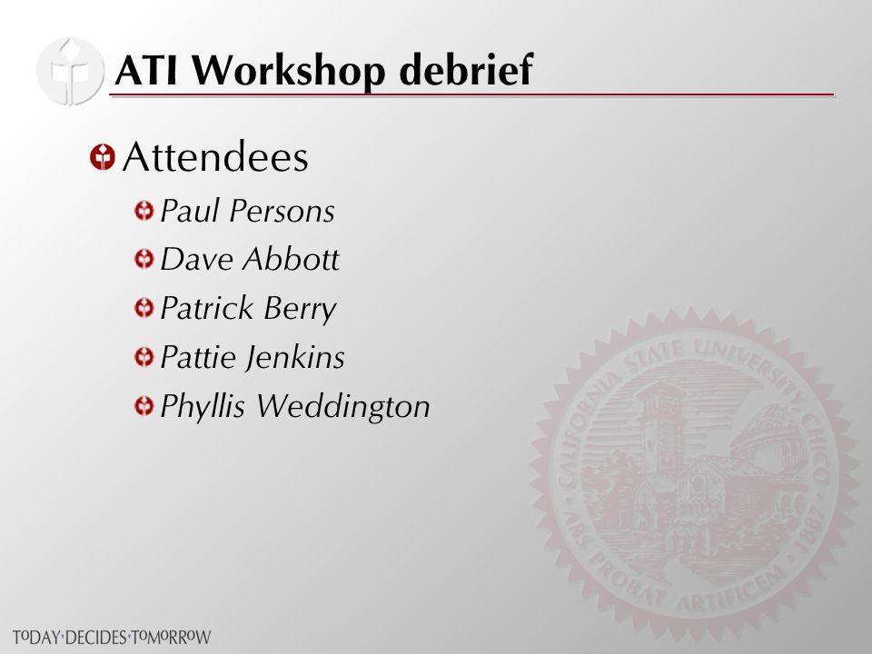 ATI Workshop debrief Attendees Paul Persons Dave Abbott Patrick Berry Pattie Jenkins Phyllis Weddington