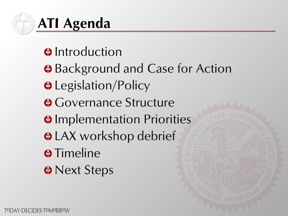 ATI Agenda Introduction Background and Case for Action Legislation/Policy Governance Structure Implementation Priorities LAX workshop debrief Timeline Next Steps