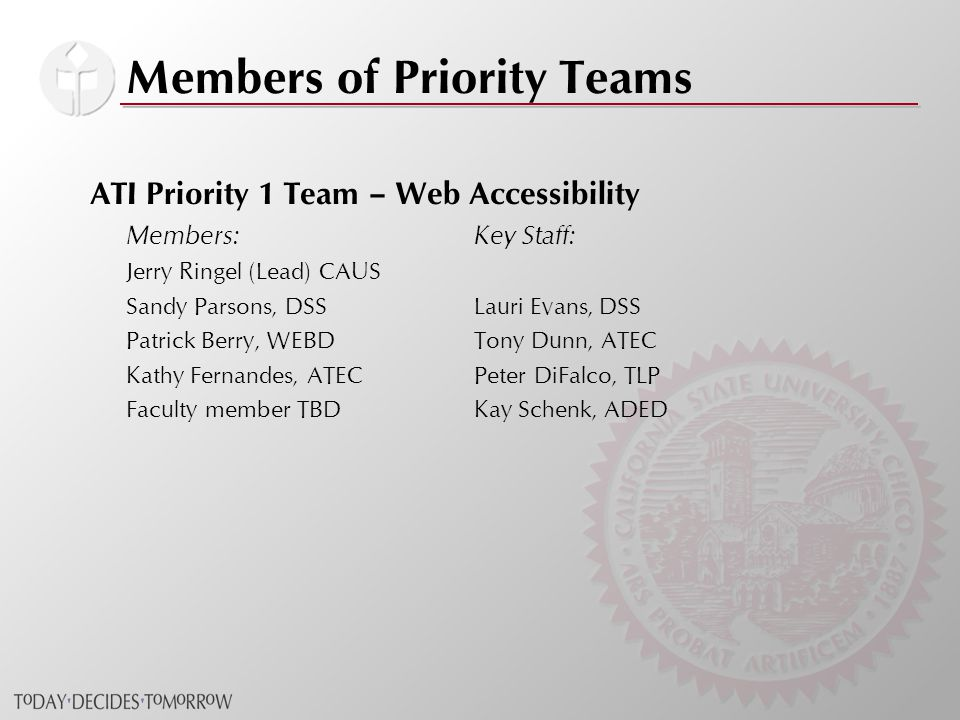 Members of Priority Teams ATI Priority 1 Team – Web Accessibility Members: Key Staff: Jerry Ringel (Lead) CAUS Sandy Parsons, DSSLauri Evans, DSS Patrick Berry, WEBDTony Dunn, ATEC Kathy Fernandes, ATECPeter DiFalco, TLP Faculty member TBDKay Schenk, ADED
