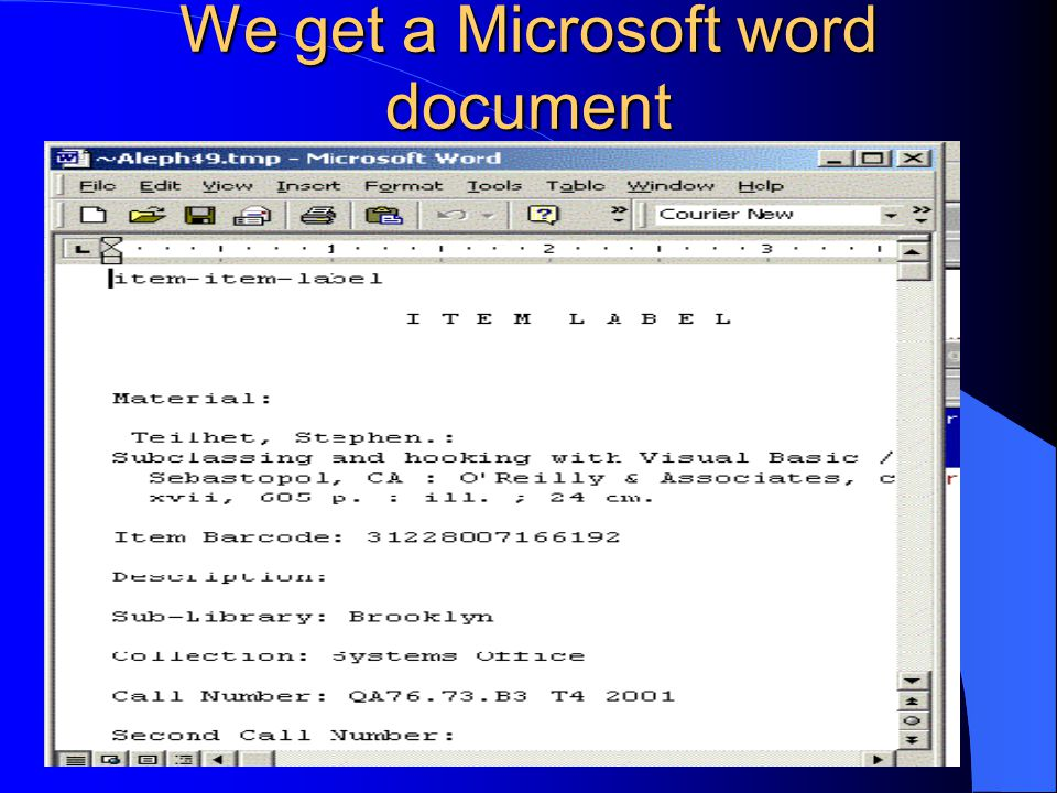 We get a Microsoft word document