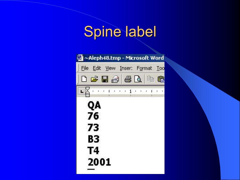 Spine label