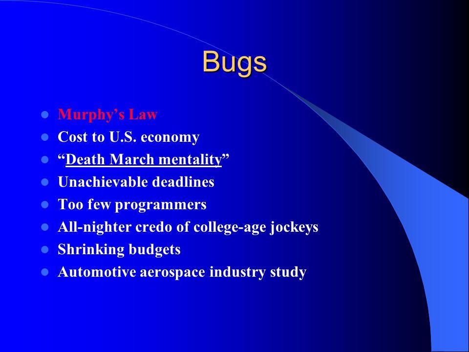 Bugs Murphy's Law Cost to U.S.