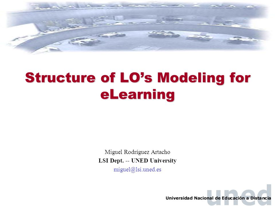 Structure of LO's Modeling for eLearning Miguel Rodríguez Artacho LSI Dept. -- UNED University miguel@lsi.uned.es