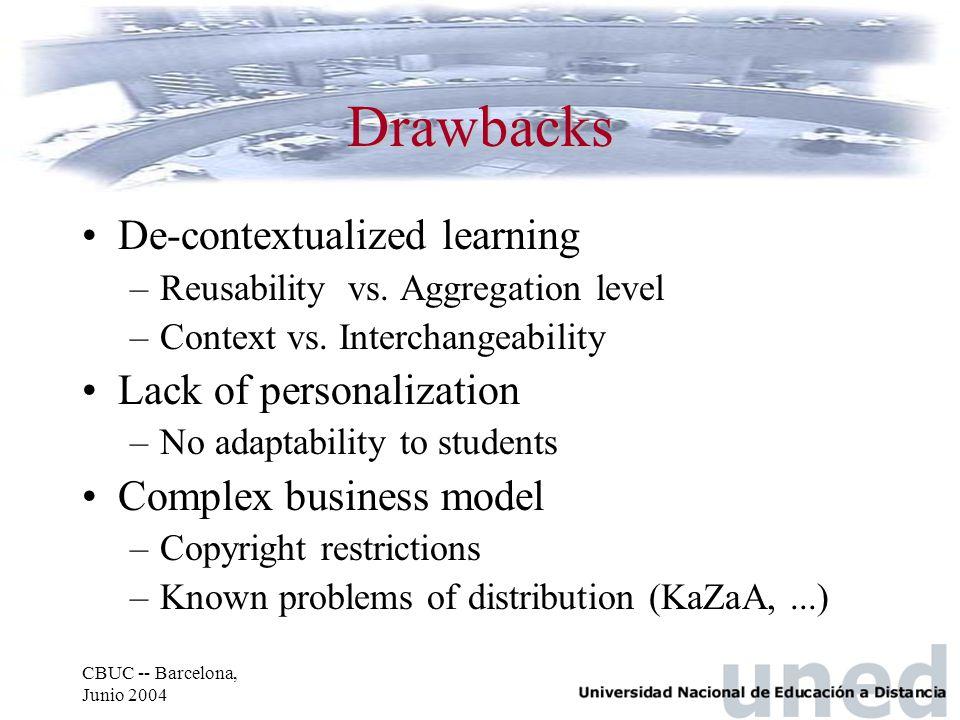 CBUC -- Barcelona, Junio 2004 Drawbacks De-contextualized learning –Reusability vs. Aggregation level –Context vs. Interchangeability Lack of personal