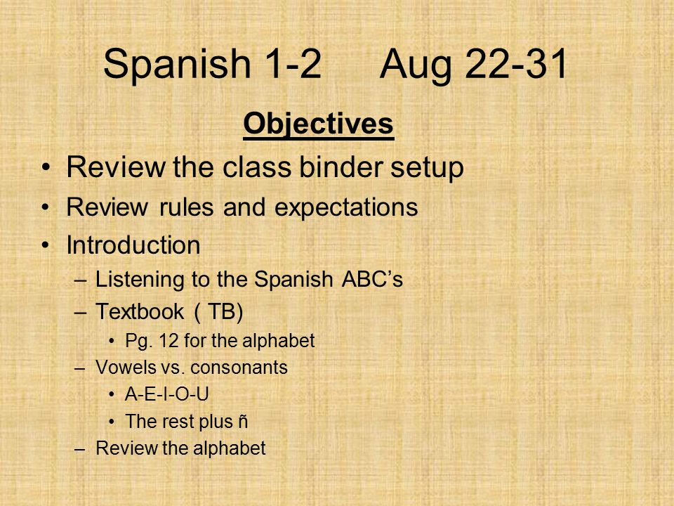 Spanish 1-2 Aug 22-31 Objectives Review the class binder setup Review rules and expectations Introduction –Listening to the Spanish ABC's –Textbook (