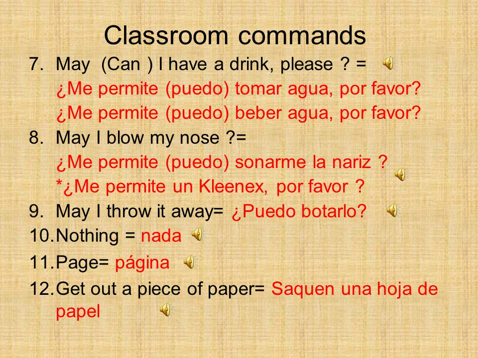 7.May (Can ) I have a drink, please . = ¿Me permite (puedo) tomar agua, por favor.