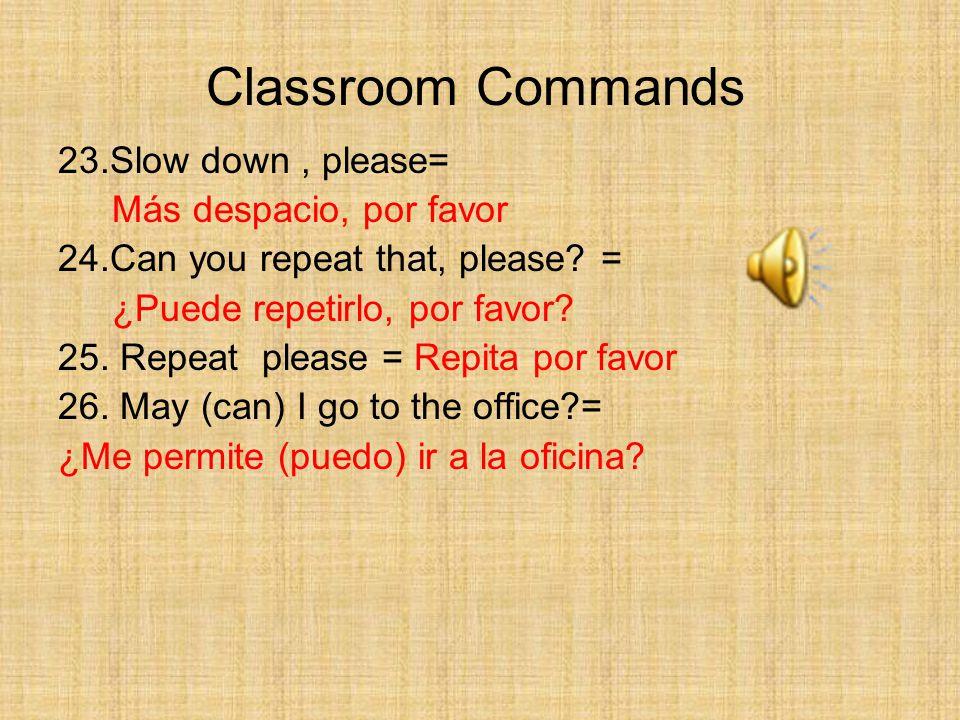 23.Slow down, please= Más despacio, por favor 24.Can you repeat that, please.