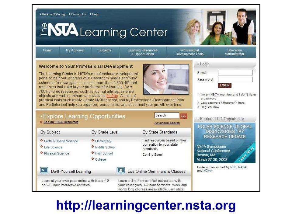 http://learningcenter.nsta.org NLC screenshot