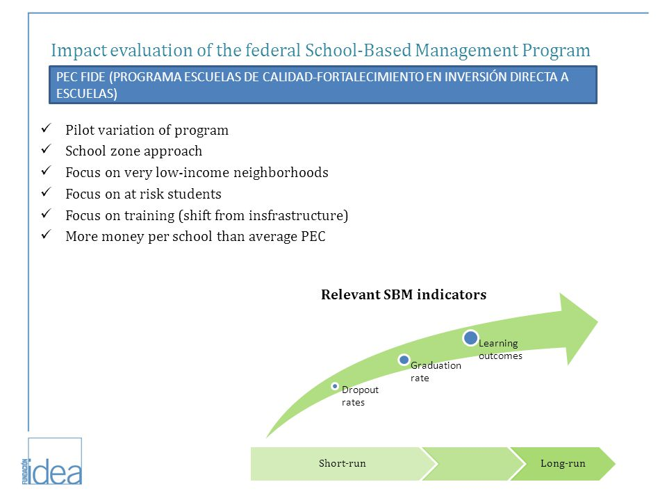 Impact evaluation of the federal School-Based Management Program PEC FIDE (PROGRAMA ESCUELAS DE CALIDAD-FORTALECIMIENTO EN INVERSIÓN DIRECTA A ESCUELAS) Pilot variation of program School zone approach Focus on very low-income neighborhoods Focus on at risk students Focus on training (shift from insfrastructure) More money per school than average PEC Dropout rates Graduation rate Learning outcomes Relevant SBM indicators Short-runLong-run