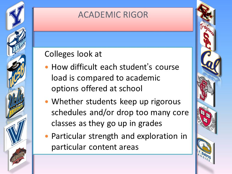 ACADEMIC RIGOR Colleges look at How difficult each student's course load is compared to academic options offered at school Whether students keep up rigorous schedules and/or drop too many core classes as they go up in grades Particular strength and exploration in particular content areas ACADEMIC RIGOR