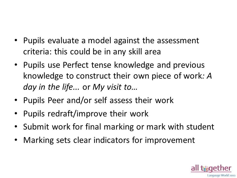 Pupils evaluate a model against the assessment criteria: this could be in any skill area Pupils use Perfect tense knowledge and previous knowledge to construct their own piece of work: A day in the life...