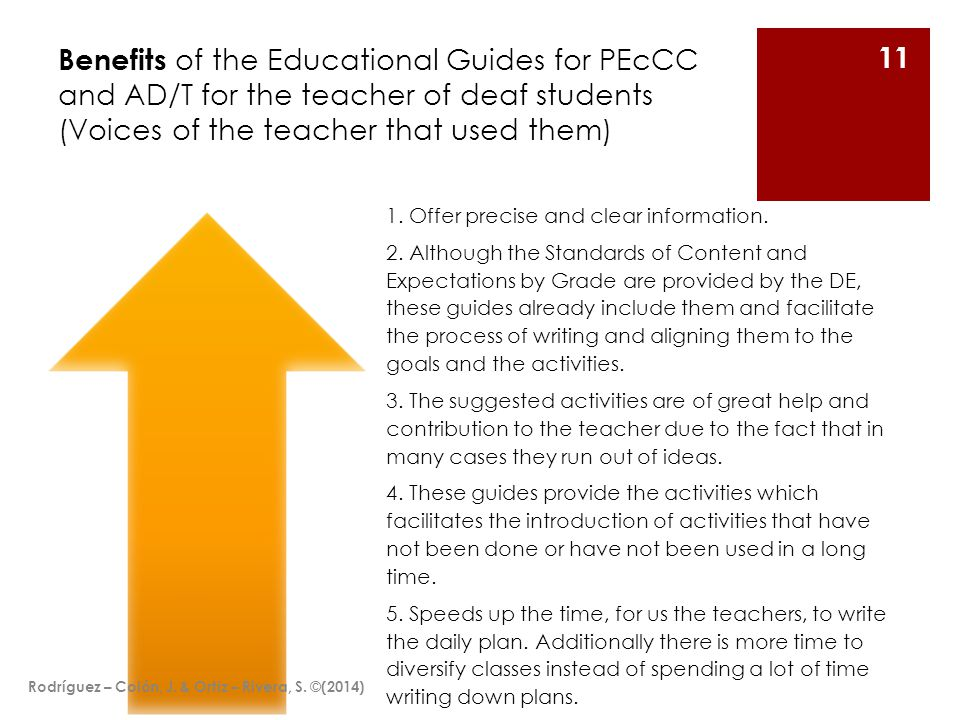 Benefits of the Educational Guides for PEcCC and AD/T for the teacher of deaf students (Voices of the teacher that used them) 1.