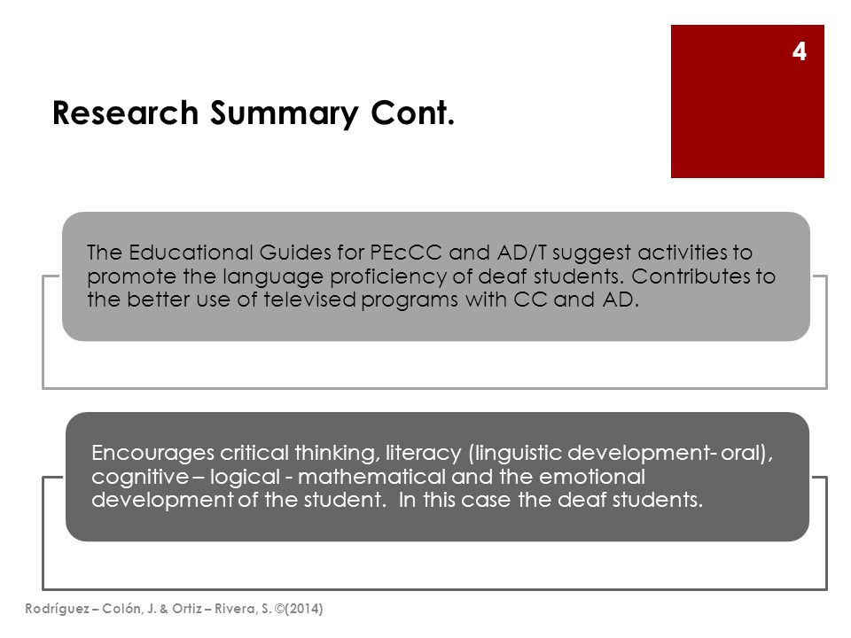 Research Summary Cont.