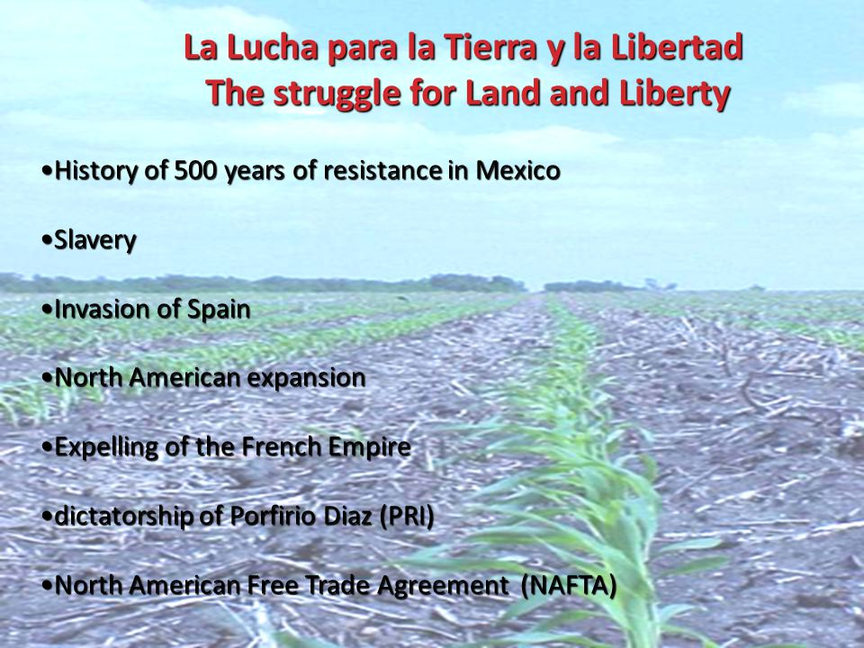 La Lucha para la Tierra y la Libertad The struggle for Land and Liberty La Lucha para la Tierra y la Libertad The struggle for Land and Liberty History of 500 years of resistance in MexicoHistory of 500 years of resistance in Mexico SlaverySlavery Invasion of SpainInvasion of Spain North American expansionNorth American expansion Expelling of the French EmpireExpelling of the French Empire dictatorship of Porfirio Diaz (PRI)dictatorship of Porfirio Diaz (PRI) North American Free Trade Agreement (NAFTA)North American Free Trade Agreement (NAFTA)