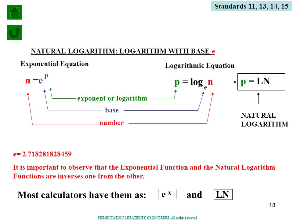 18 Standards 11, 13, 14, 15 n =e p p = log n e number base exponent or logarithm Exponential Equation Logarithmic Equation NATURAL LOGARITHM: LOGARITHM WITH BASE e p = LN e= 2.718281828459 It is important to observe that the Exponential Function and the Natural Logarithm Functions are inverses one from the other.