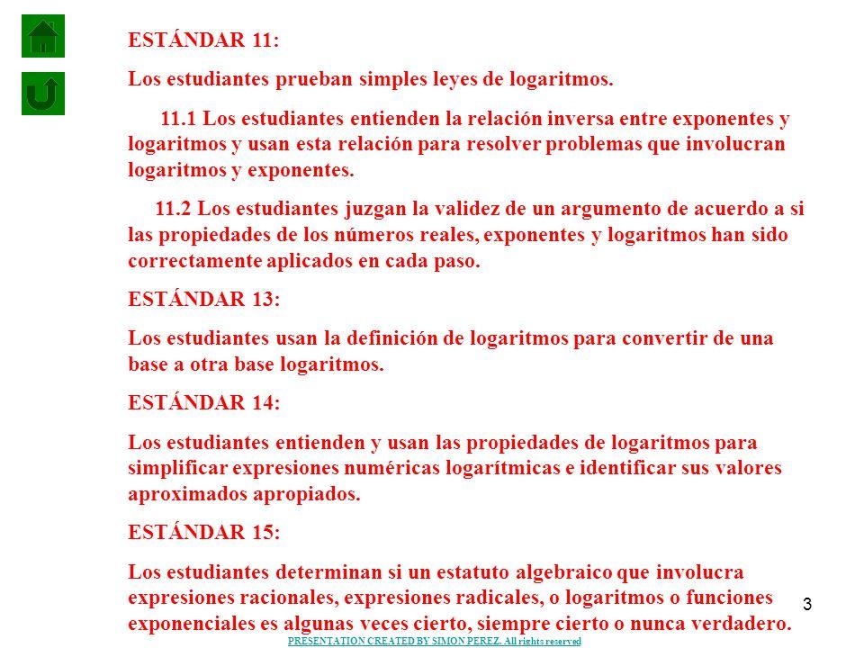 3 ESTÁNDAR 11: Los estudiantes prueban simples leyes de logaritmos. 11.1 Los estudiantes entienden la relación inversa entre exponentes y logaritmos y