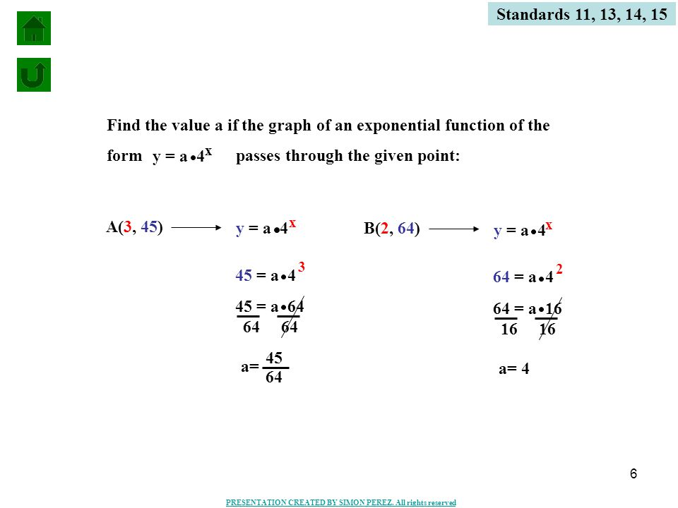 6 Standards 11, 13, 14, 15 Find the value a if the graph of an exponential function of the form passes through the given point: A(3, 45) y = a 4 x x 45 = a 4 3 45 = a 64 64 a= 45 64 B(2, 64) y = a 4 x 64 = a 4 2 64 = a 16 16 a= 4 PRESENTATION CREATED BY SIMON PEREZ.