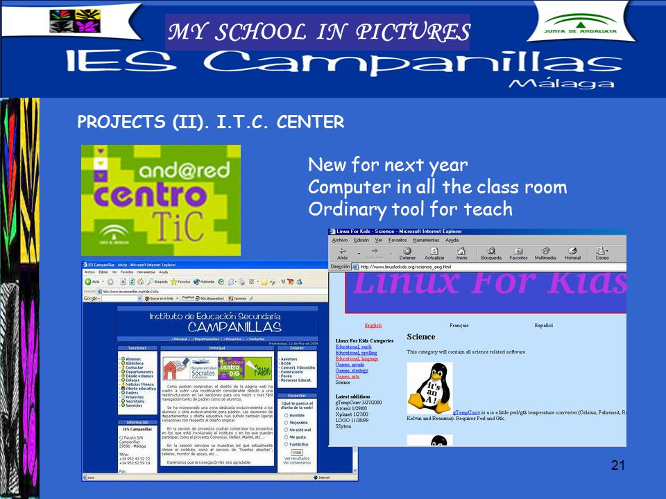 21 MY SCHOOL IN PICTURES PROJECTS (II). I.T.C.