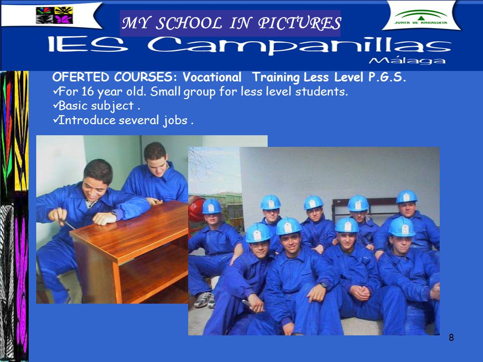 8 MY SCHOOL IN PICTURES OFERTED COURSES: Vocational Training Less Level P.G.S.